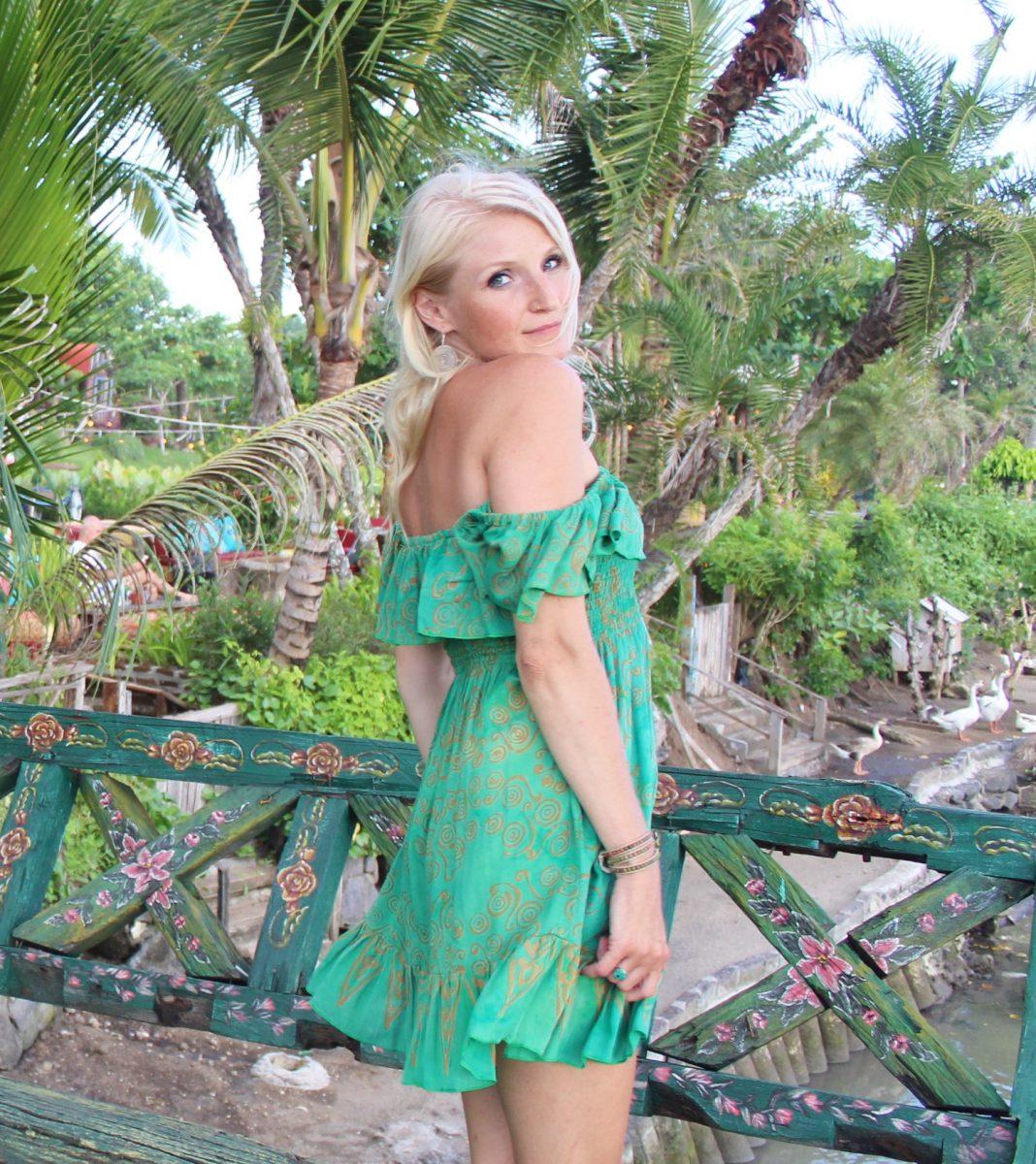 Off Shoulder Boho Dress Summer Green Hippie Coachella