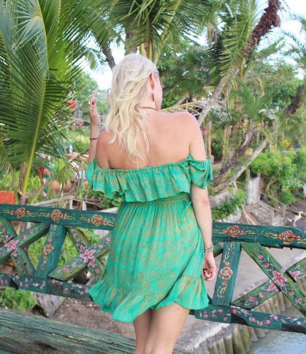 Schulterfrei Sommer Kleid Hippie Boho