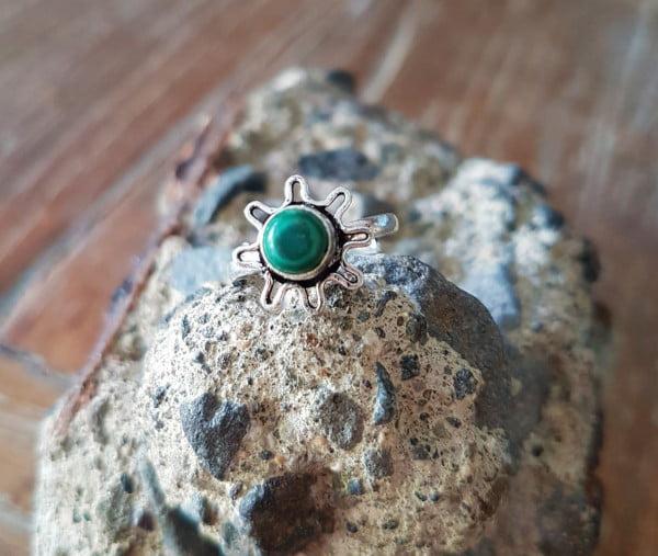 Boho Midi Knuckle Ring Malachit