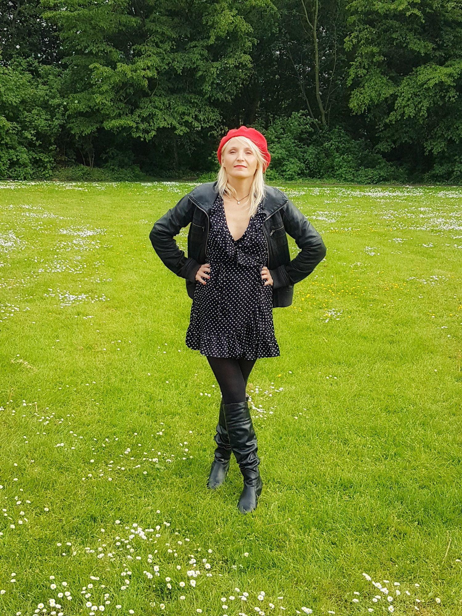 Polka Dot Kleid Rüschen