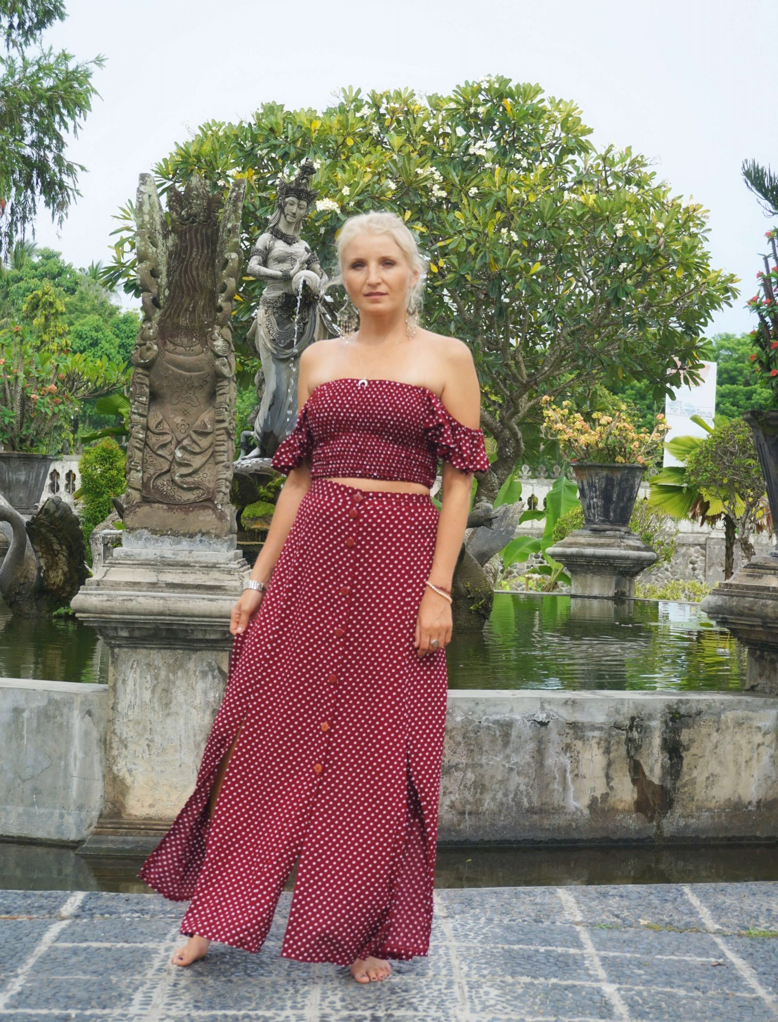"""Zweiteiler Punkte Kleid rot """"Once upon a time ..."""