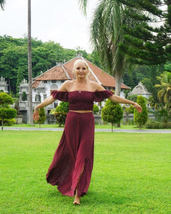 Polka Dot Zweiteiler Kleid Weinrot Off Shoulder Maxikleid