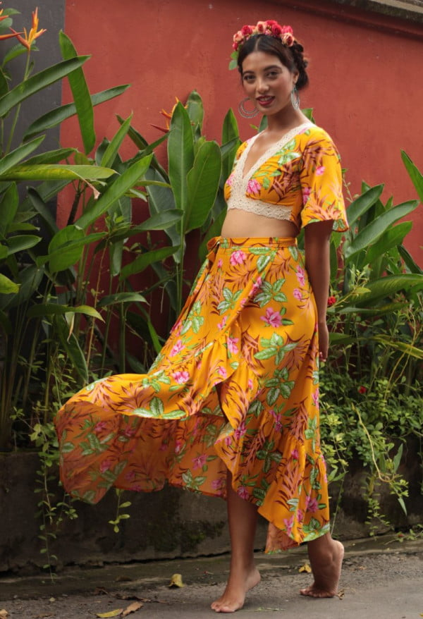 Top Wrap Skirt Floral Yellow