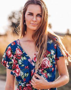 Blumen Wickelkleid Blau Gypsy Style - Boho Kleider - Boho Kleid Blumen Sommerkleid Boho Kleider Online Fair Trade Faire Mode