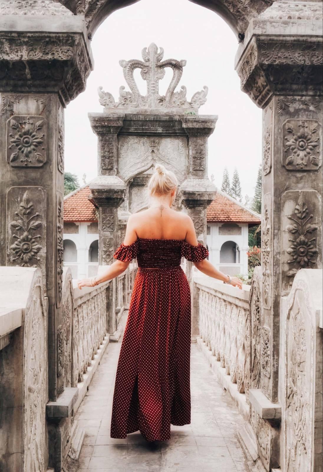 Boho Zweiteiler Kleid Polka Dot Rot Weiss (1)