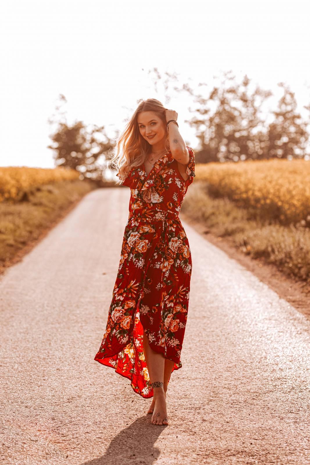 Boho Kleid rot Blumenmuster Ibiza Style Bohemian Kleid