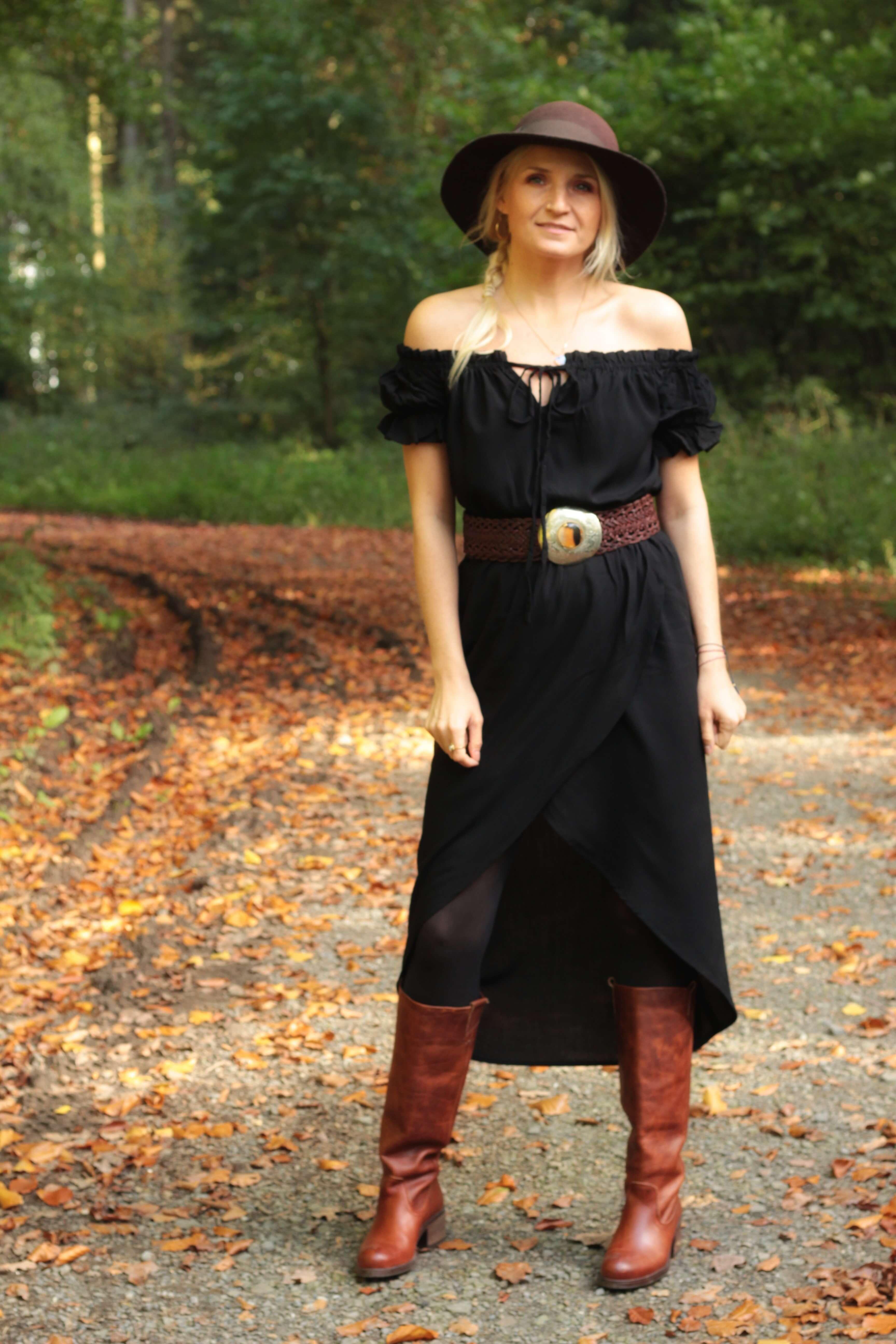 High Low Kleid Schwarz Schulterfrei
