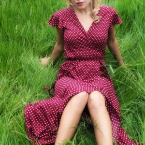 Polka dot Maxi dress Dark red Boho Chic Dotted dress Long Summer Dress with dots