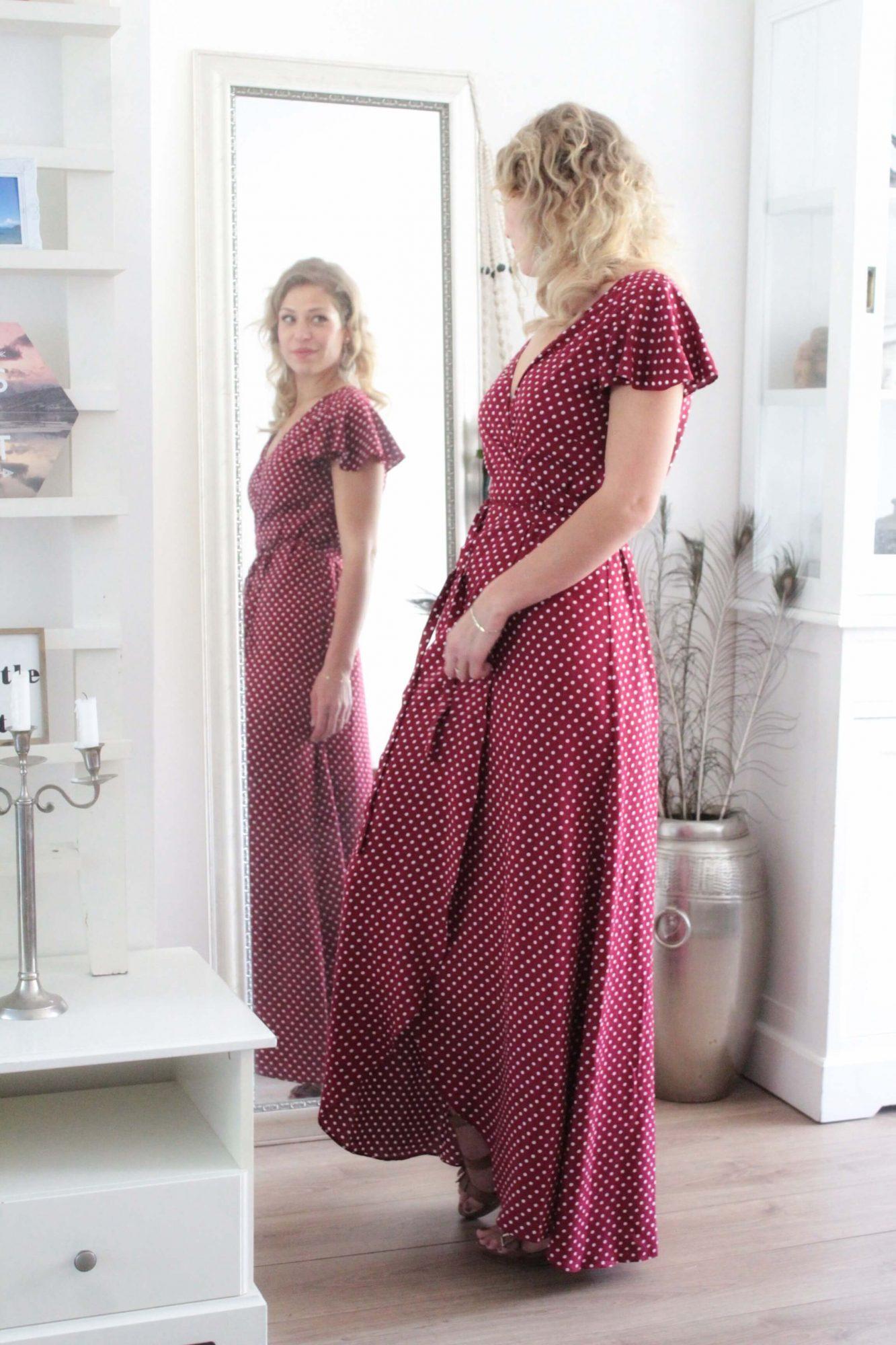 Polka Dot Maxi Kleid Maxikleid Rot Punktekleid Kleid lang gepunktet