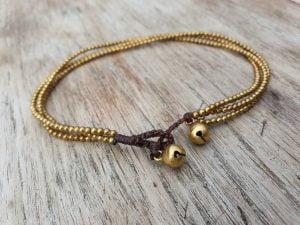 Messing Fusskettchen Antik Gold Orientalisch Schlichte Fußkette Glöckchen Makramee Boho Gypsy