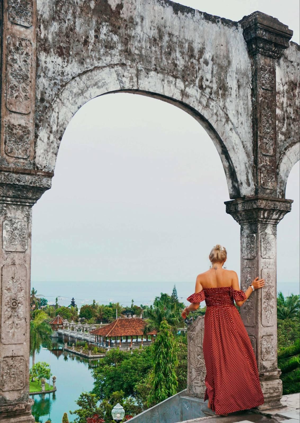 Zweiteiliges Kleid Gepunktet Rot Weiss Ibiza Style