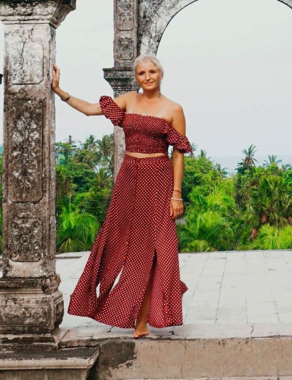 Zweiteiliges Kleid Gepunktet Rot Weiss Polka Dot Kleid