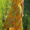 Boho Blumen Wickelkleid Gelb Sommerkleid mit Wickeltechnik+