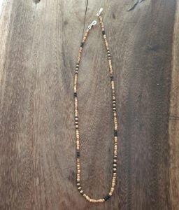 Boho Brillenkette Holzperlen Lavastein Natur