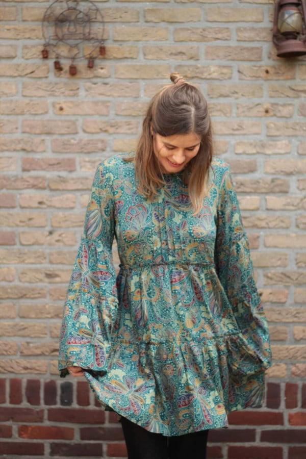 Boho Kleid Langarm mit Trompetenärmel Hippie Kleid