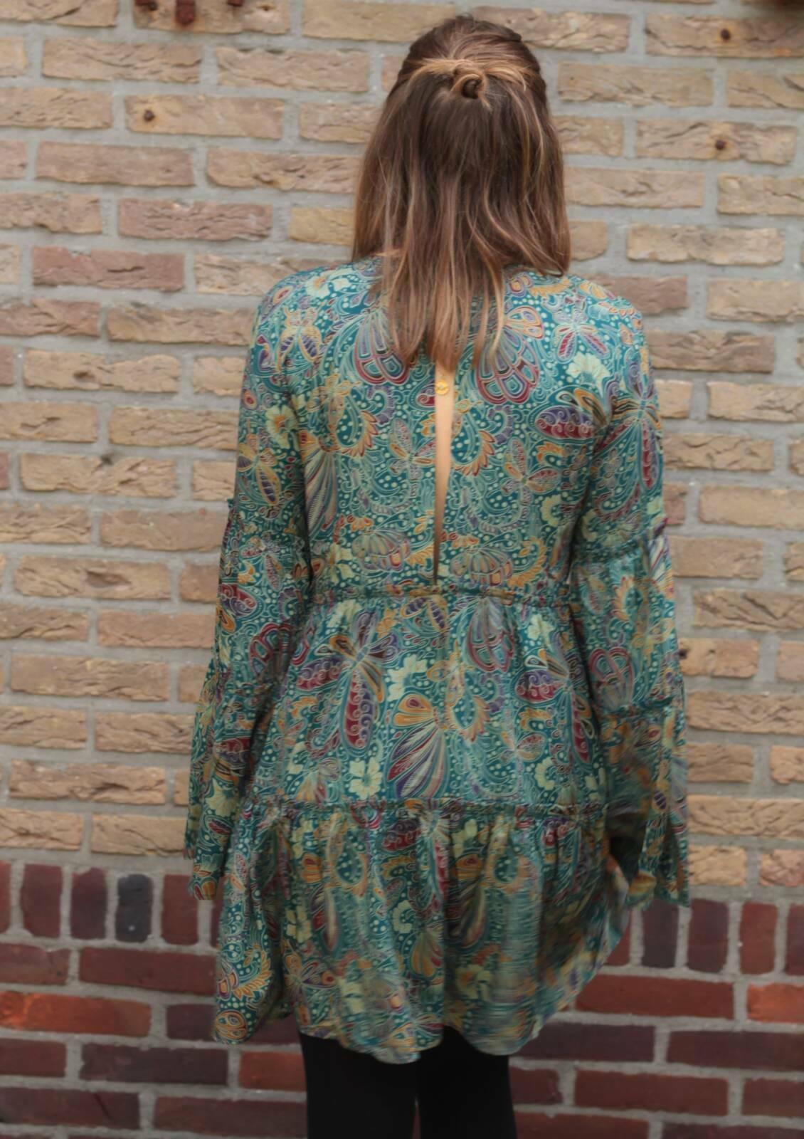 Boho Kleid Langarm mit Trompetenärmel Rückenfrei