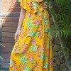 Boho Style Hippie Blumenkleid Volantkleid gelb Blumen Print