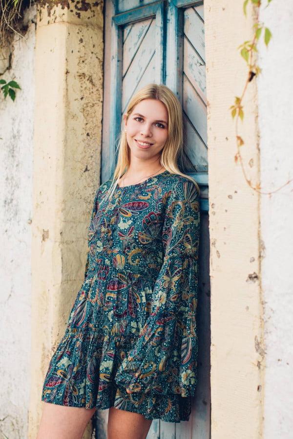 Boho Tunika Kleid Mini Kleid Trompetenärmel