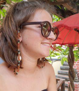 Brillenkette Rudraksa Lavastein Hellblau Hippie