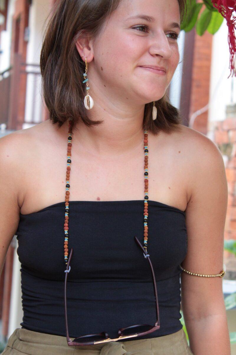 Brillenkette Rudraksa Lavastein Hellblau Hippie Sommer Beach Style