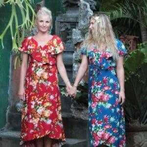 Hawaii Blumen Kleid Boho Blumenkleid Sommerkleid Luftige Kleider Wickelkleid Blumenmuster (1)