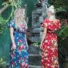 Hawaii Flowers Dress Kleid Boho Floral Dress Simmer dress ge Kleider Wickelkleid Blumenmuster (10)