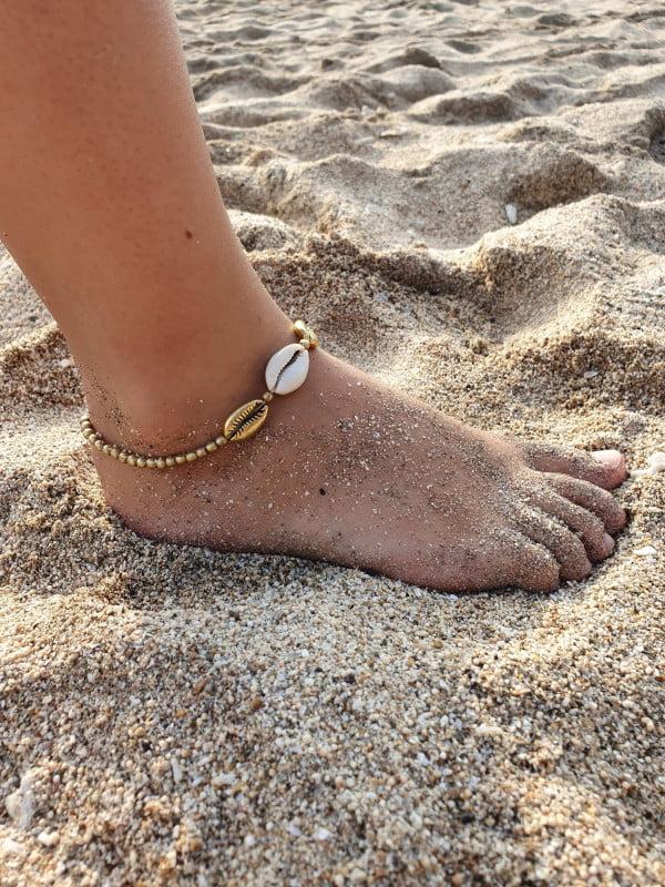 Hippie Ibiza Style Fusskette Muschel Makramee (8)