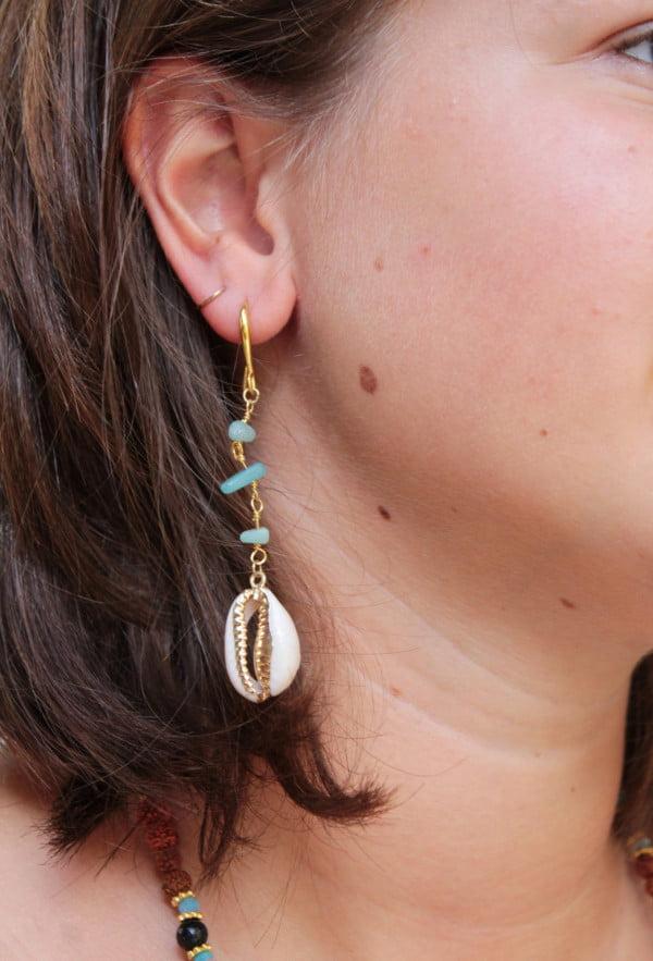 Lange Ohrringe Vergoldet 18 Karat Muschel Anhänger