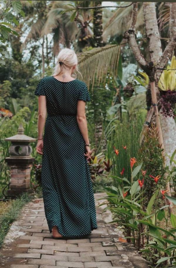 Langes Polka Dot Kleid Schwarz Weiß Punkte Kleid Maxikleid Wickelkleid (1)