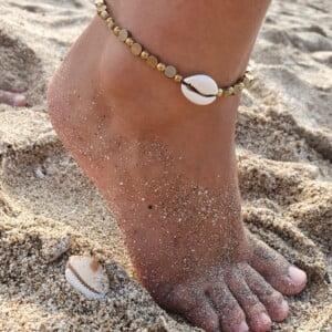 Muschel Fusskette Gold Messing Beach Boho Schmuck