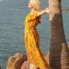 Sommerkleid Gelb Hawaii Blumen Kleid Brautjungern Schwangerschaftskleidung (3)