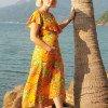 Sommerkleid Gelb Hawaii Blumen Kleid Brautjungern Schwangerschaftskleidung (4)