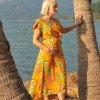 Sommerkleid Gelb Hawaii Blumen Kleid Brautjungern Schwangerschaftskleidung (5)