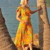 Sommerkleid Gelb Hawaii Blumen Kleid Brautjungern Schwangerschaftskleidung (6)