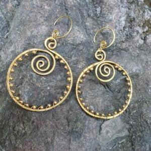 Spiralen Ohrringe rund Spiralen Ohrringe Rund Gypsy StyleSpiralen Creolen Messing