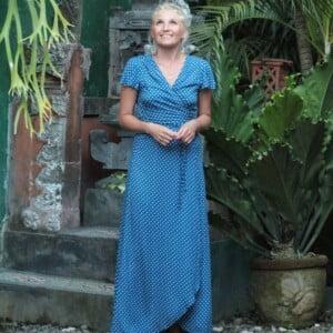 Wickelkleid Lang Gepunktet Tupfen Kleid Blau Weiss