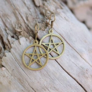 Pentacle earrings brass