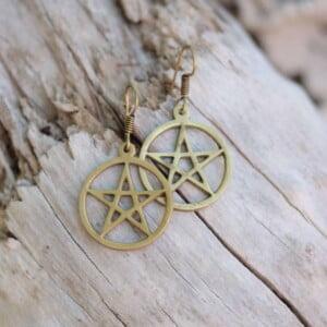 Pentacle earrings brass
