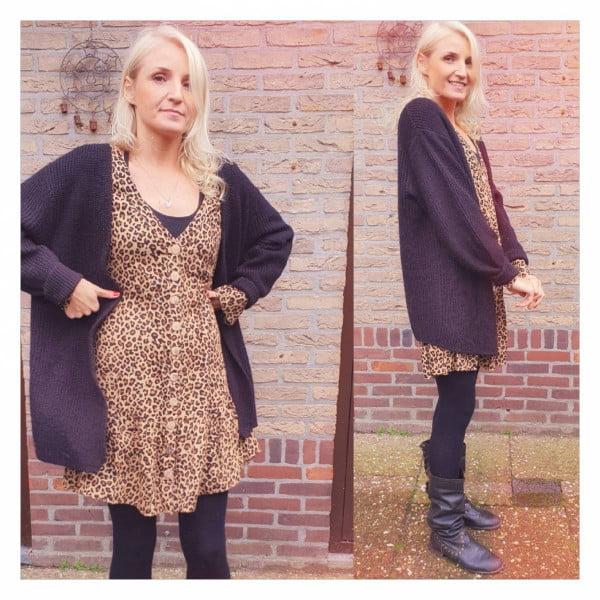Boho Herbst Winter Outfit Leo Print Tunika Kleid