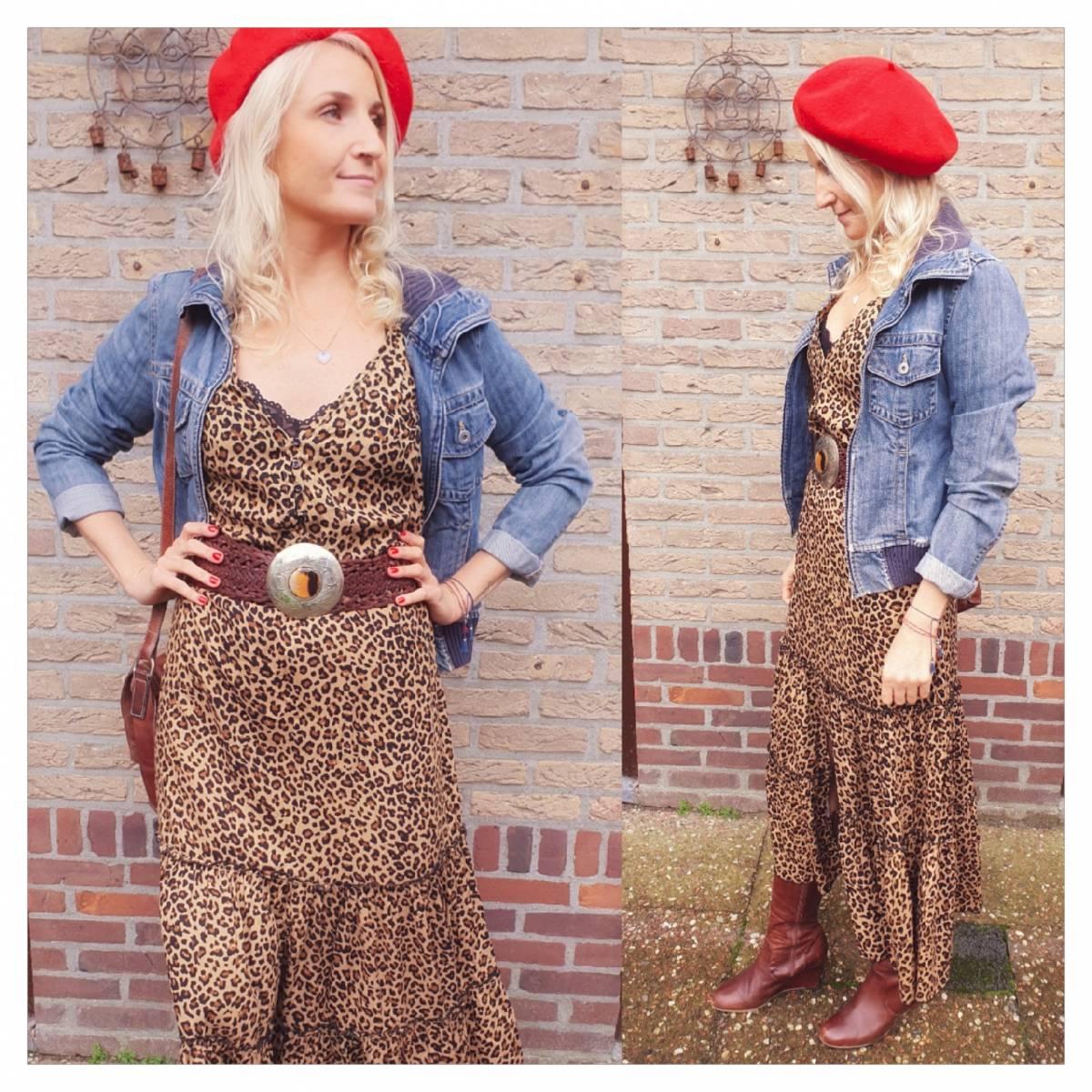 Leoparden Midikleid Boho Outfit Leopardenkleid