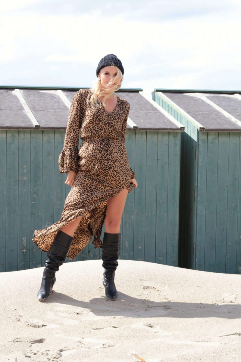 Animal Print Leo Muster Boho Chic Kleid