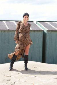 Animal Print Leo Muster Boho Chic Kleid Bohemian Gypsy Maxikleid
