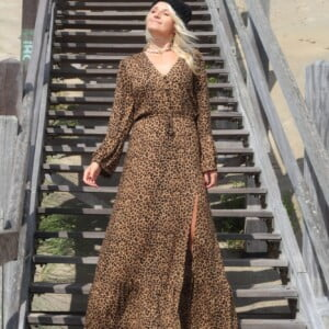 Animal Print Leo Muster Boho Chic Kleid Bohemian Gypsy Maxikleid Boho Outfit