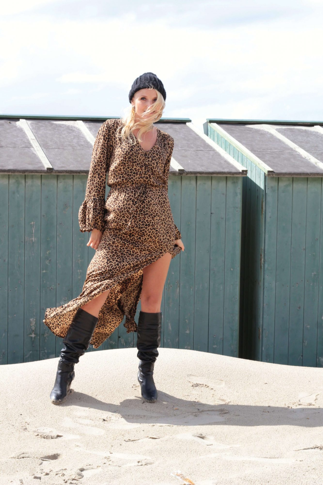 Animal Print Leo Muster Boho Chic Kleid Bohemian Gypsy Maxikleid