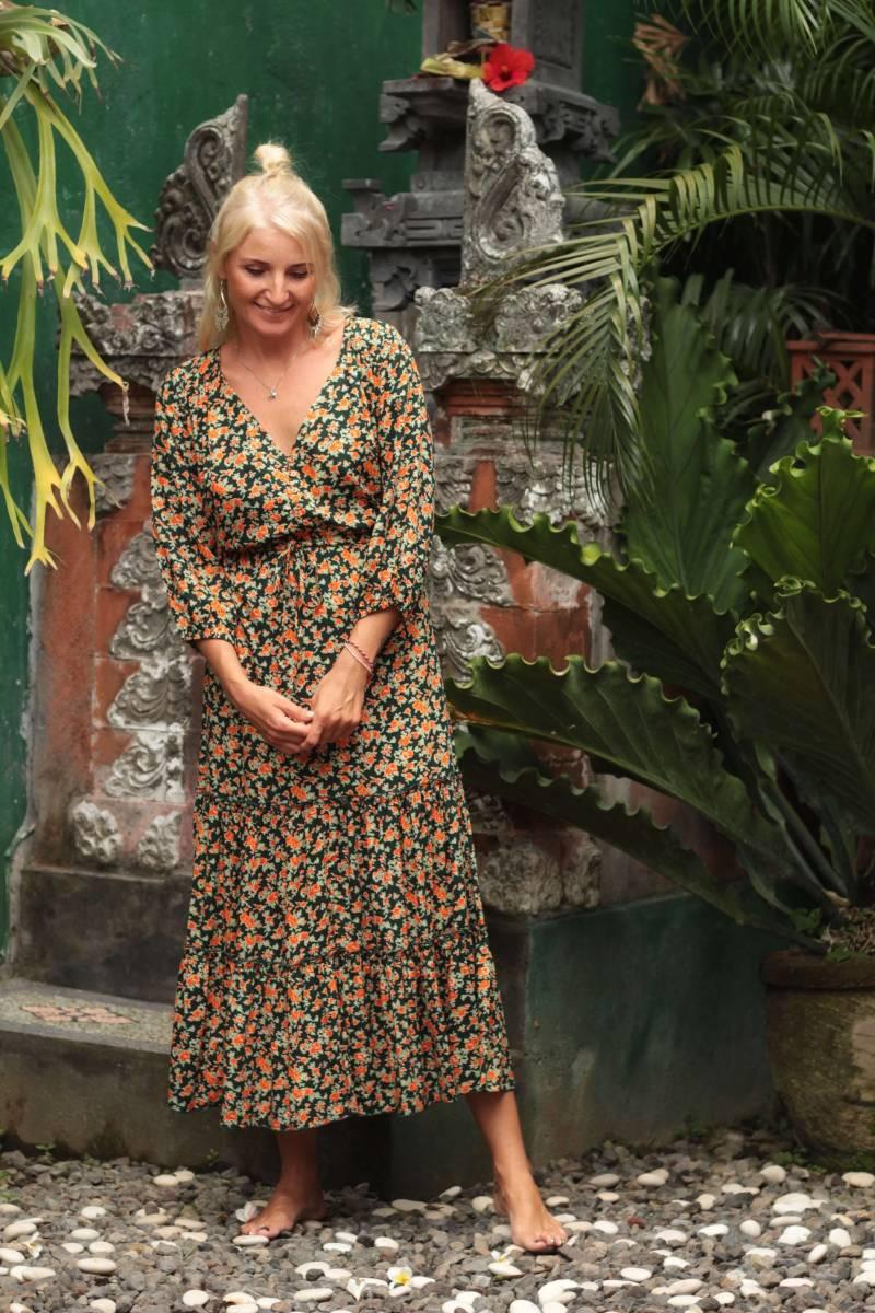 Blumen Midi Kleid Boho Ibiza Gypsy Style Hippie Kleid