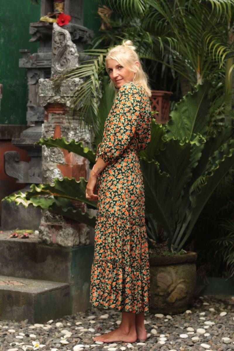 Green Midi Dress with - Boho Flower dress - Hippie autumn dress