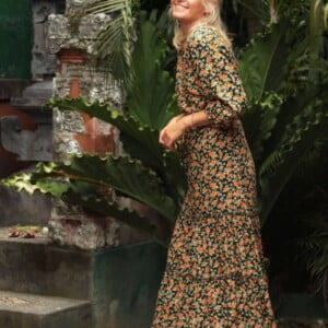 Flower midi dress boho ibiza gypsy style hippie dress