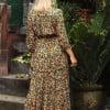 Blumen Midi Kleid Boho Ibiza Gypsy Style Hippie Kleid Ha (1)