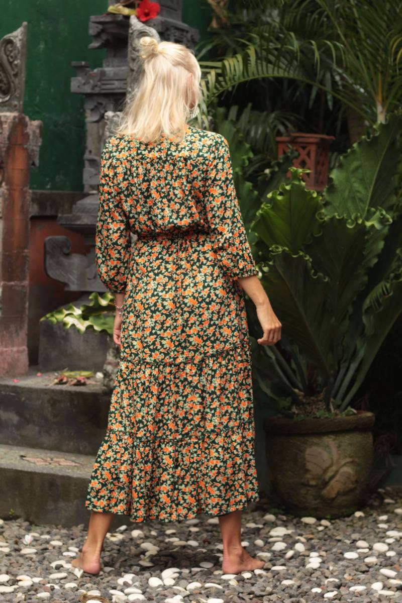 Hippie Kleid Sommer Blumenkleid Midi Bohemian Kleidung