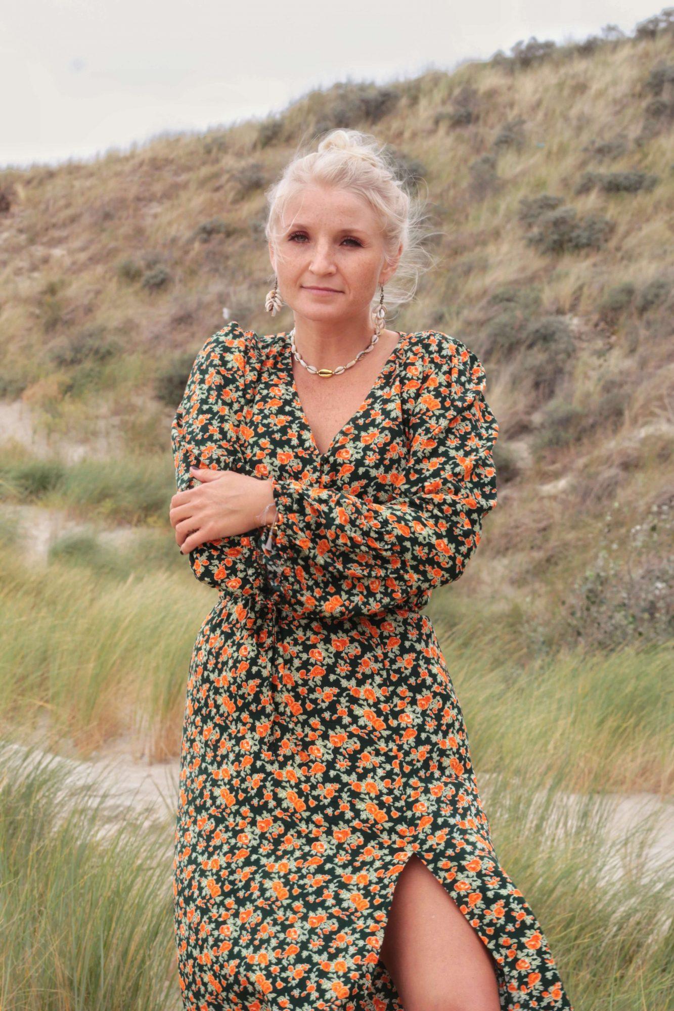 Blumenkleid Land Maxi Hippie Chic Kleid mit Schlitz Langarm